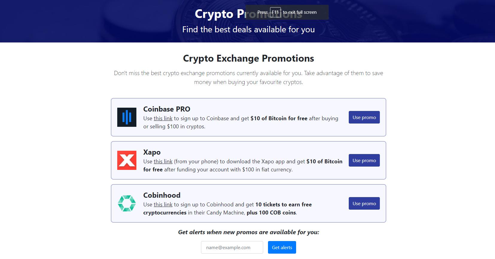 Crypto Exchange Promotions | CryptoFeeSaver